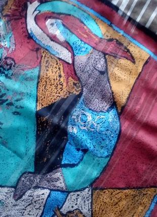 Винтажный платок картина,84*88 см.