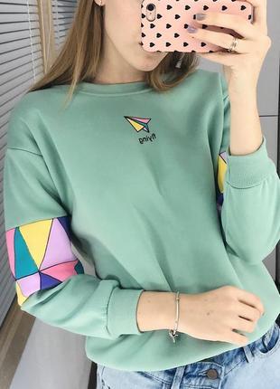 Мятный свитшот с надписью свитер кофта толстовка