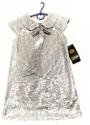 Еленантное нарядное платье в паетках для девочки от 4 до 10лет