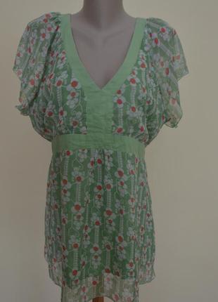 Шикарная туника блуза в принт большого 22 размера,салатового цвета