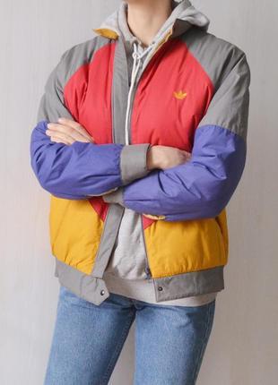 Винтажная теплая дутая куртка на синтепоне пуховик adidas