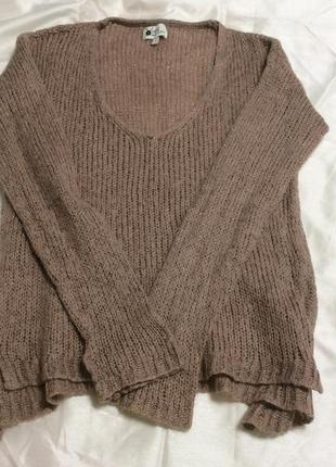 Большой выбор свитеров - тёплый красивый темно пудровый свитер с v-вырезом в составе мохер