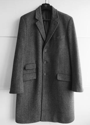 Стильное мужское шерстяное пальто в ёлочку люксового бренда jaeger (йегер) eb5345611fd