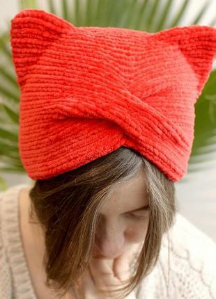 Червона велюрова шапка чалма з вушками