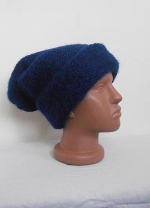 Зимняя мореровая шапка-чулок