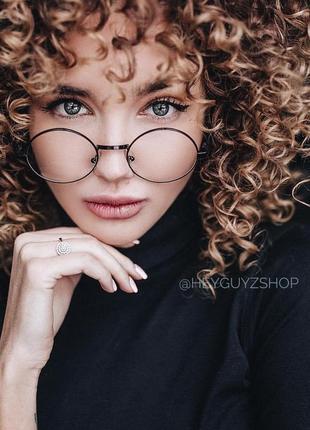 Круглые имиджевые очки гарри поттера с прозрачными линзами в черной оправе нулевки