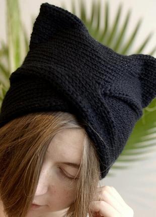 Чорна шапка чалма з вушками 20% шерсть