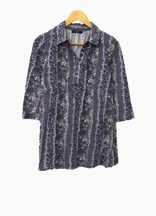 Красивая котоновая кофта блуза с принтом и нашитыми паетками вверху