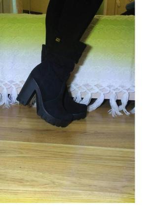 Зимние ботинки сапоги натуральный замш