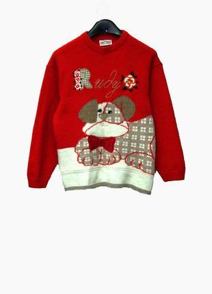 Красивый яркий свитер с забавным принтом на 10-11 лет