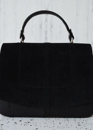 Стильная итальянская черная кожаная сумка, (borse in pelle) италия