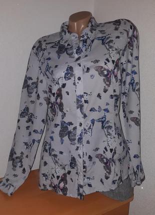 """Дымчато-серая рубашка с принтом """" бабочки"""" 100% хлопок"""