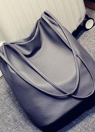 Стильная женская сумка мешок черная, серая, серебристая