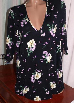 Шикарная блуза (2хл замеры) с узором, мягкая ,к телу приятная, замечательно смотрится