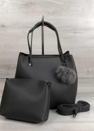 Серая сумка мешок с клатчем через плечо мягкий шоппер с пушком