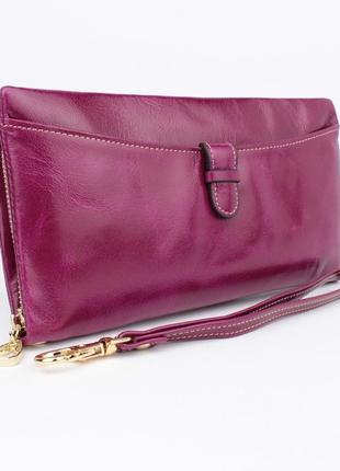 Кошелек кожаный женский на молнии valensiy 2167 фиолетовый