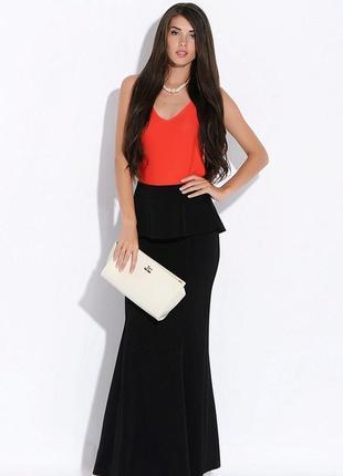 Шикарная юбка-годе макси, черного цвета uk 14-16