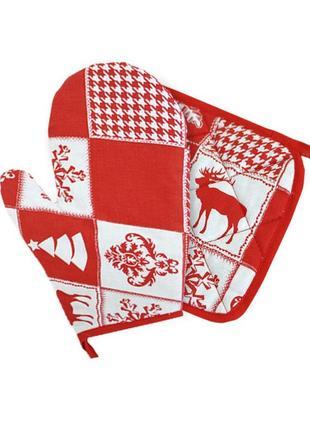 Новогодний набор прихватка и рукавица для кухни пэчворк