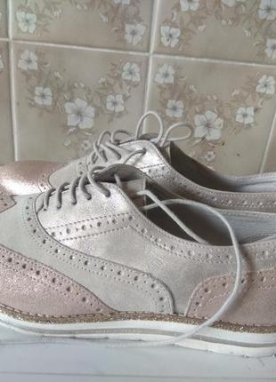 Шикарные кожаные туфли 27см  пудра