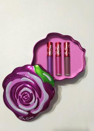 Набор жидких помад lime crime pink 3шт в металлическом футляре, подарочный набор помад