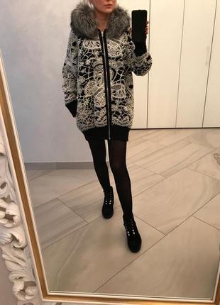 Пальто - кардиган с мехом чернобурки philippe plein. оригинал.