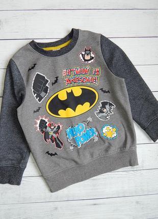 Свитшот теплый с начесом, джемпер, кофта бэтман,batman для мальчика 6-7 лет. 122 рост.