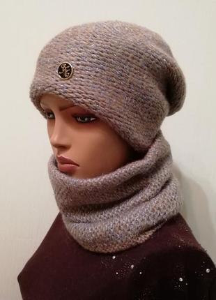 Тёплый стильный комплект на зиму шапка и бафф беж с голубым