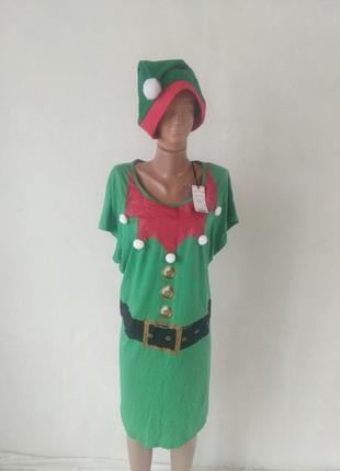 Карнавальный игровой домашний костюм на новый год эльф гном троль  20-22 размер