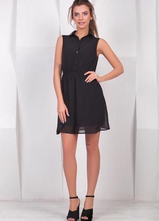 Сезонная распродажа!!!! шикарное черное шифоновое платье рубашка от h&m