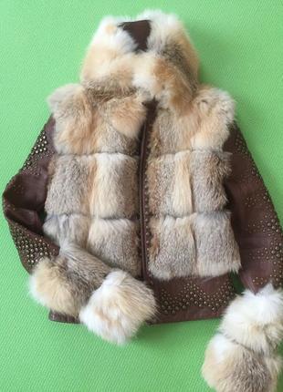 Дубленка натуральная кожаная курточка с мехом лисы