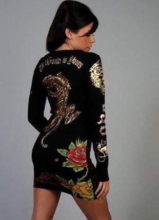 Эксклюзивное крутое трикотажное нарядное с камнями и тату платье ed hardy s-m