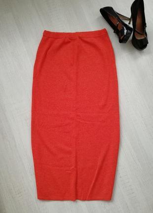 🎄винтажная шерстяная юбка макси кораллового цвета 🌹 длинная юбка с разрезом