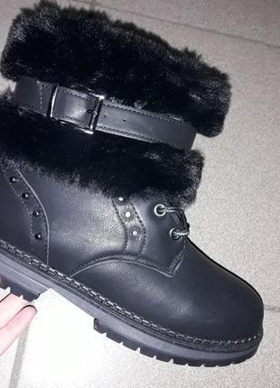 С 38 39  рр зимние ботинки жіночі зимові каблук на меху полусапожки зима женские