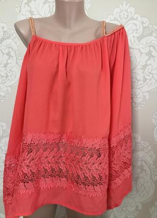 Нарядная блуза с ажурными вставками luxury collection l-xl