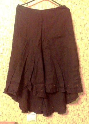 36-38р. чёрная льняная юбка со шлейфом