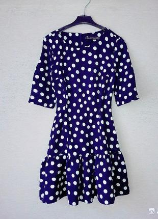 Стильное, актуальное синее платье в горох.