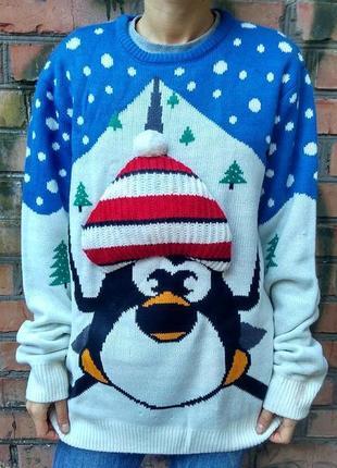 Новогодний рождественский джемпер пингвинёнок merry christmas, cedarwood state