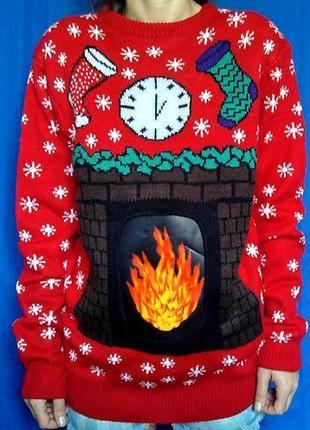 Новогодний рождественский джемпер с горящим камином, cedarwood state, размер s
