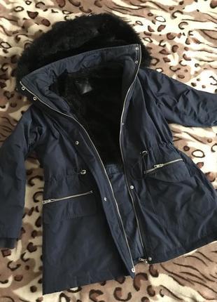 Парка зимняя утеплённая синяя куртка