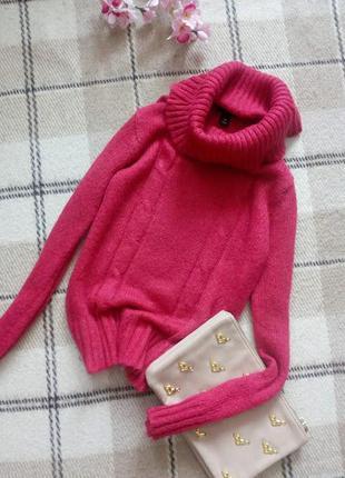 Красивенный свитер с обьемной горловиной и мохером от h&m