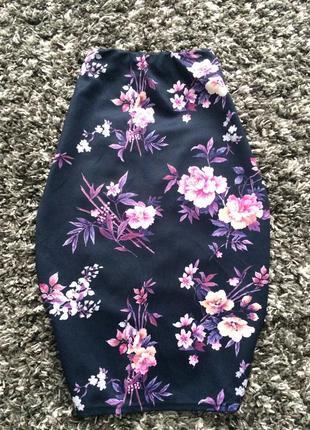 Цветочная юбка миди карандаш1