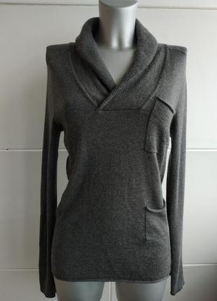 Стильный джемпер dkny (donna karan new york) серого цвета с карманами и воротником1
