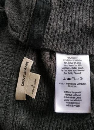 Стильный джемпер dkny (donna karan new york) серого цвета с карманами и воротником5