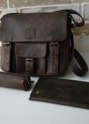 В наличии! стильная винтажная кожаная сумка через плечо / унисекс