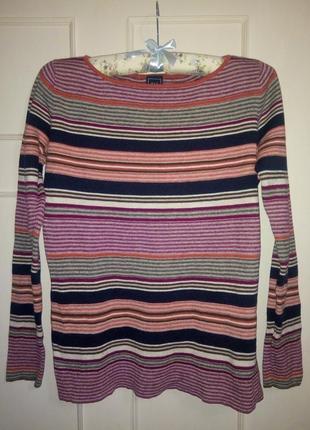 Тонкий свитер трикотажная полосатая кофта вискоза шелк gap, m размер