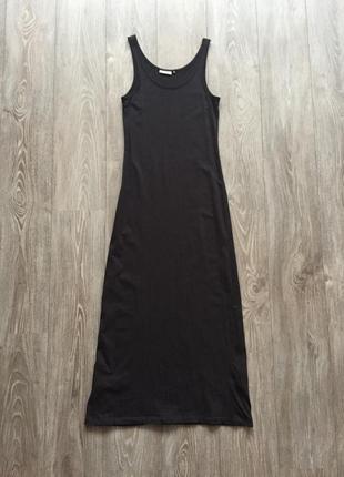 Длинное чёрное трикотажное платье-майка only m, 36/38, макси
