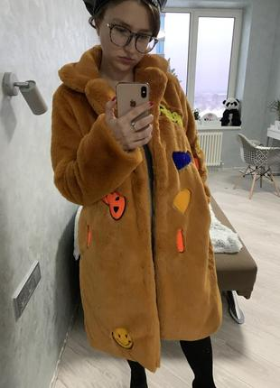 Шуба эко мех искусственная пальто горчичная нашивки вышивка кролик рекс2 фото