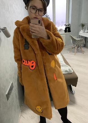 Шуба эко мех искусственная пальто горчичная нашивки вышивка кролик рекс3 фото