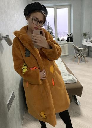 Шуба эко мех искусственная пальто горчичная нашивки вышивка кролик рекс5 фото