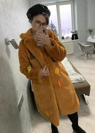 Шуба эко мех искусственная пальто горчичная нашивки вышивка кролик рекс4 фото